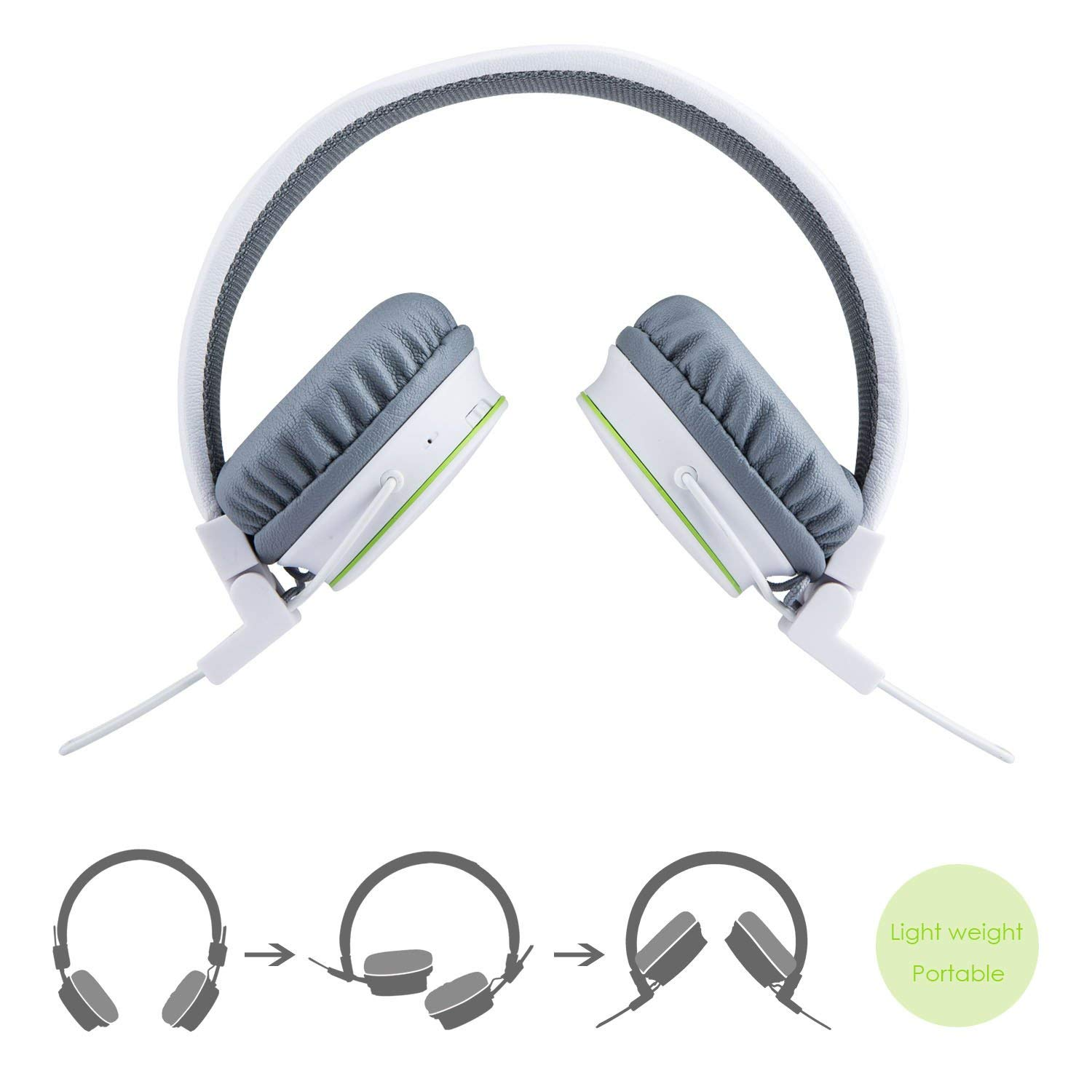 Volume Limited Wireless Bluetooth Kids Headphones Termichy Wireless Wired Foldable Stereo Over Ear Headsets With Music Share Port And Built In Microphone For Calling Children Bluetooth Earphones For Smartphones Pc Music Gaming White